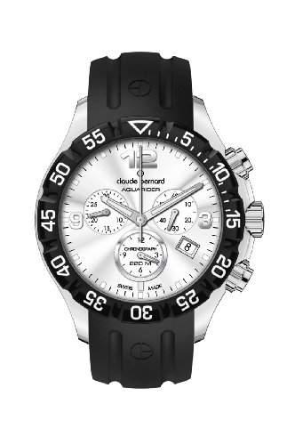 Claude Bernard Herren 10205 3 AIN Aquarider Silver Chronograph Rotating Bezel Rubber Uhr