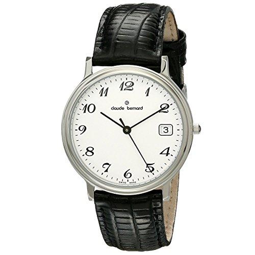 Claude Bernard 70149 3 BB Uhr Leder schwarz silber Classic