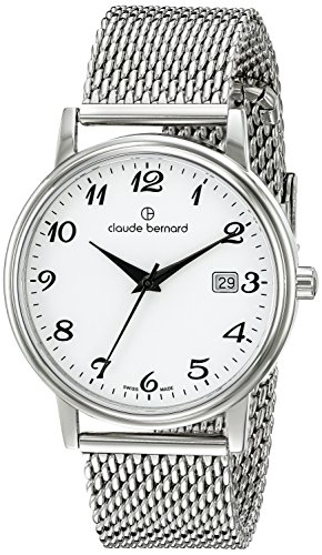 Claude Bernard Classic Herrenuhr Analog Quartz Leder Silber 53007 3M BB