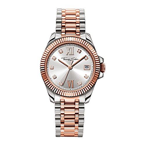 Thomas Sabo Damen Armbanduhr Watches Analog Quarz Edelstahl beschichtet WA0219 272 201 33mm