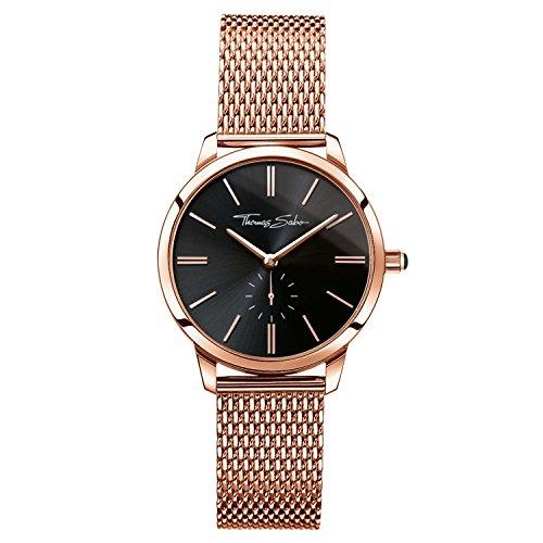 Thomas Sabo Damen Armbanduhr Watches Analog Quarz Edelstahl beschichtet WA0249 265 203 33mm