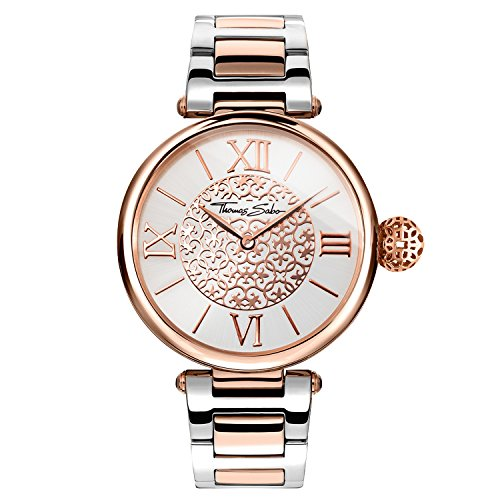 Thomas Sabo Damen Armbanduhr Watches Analog Quarz Edelstahl beschichtet WA0257 277 201 38mm