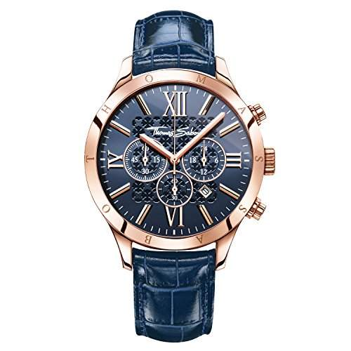 Thomas Sabo Herren-Armbanduhr Rebel at Heart - URBAN Blue Rosé Chronograph Quarz Leder WA0211-270-209-43 mm