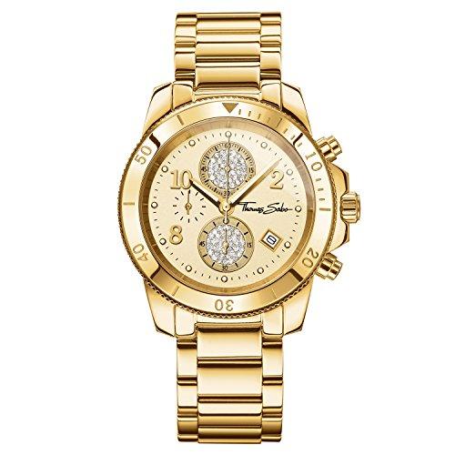 Thomas Sabo Damen Armbanduhr Chronograph Quarz Edelstahl WA0191 264 207 40 mm