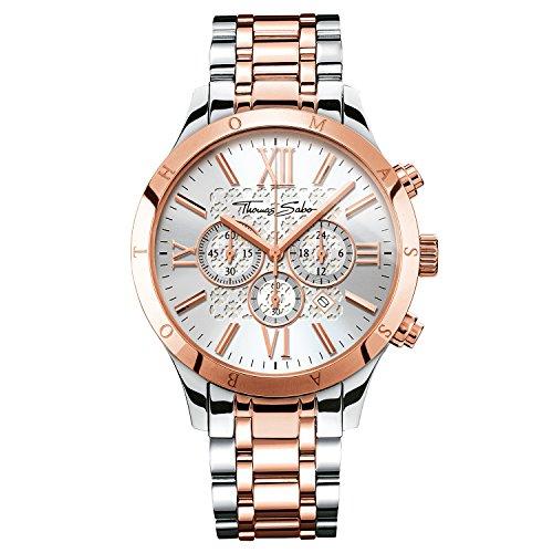 Thomas Sabo Herren Armbanduhr Chronograph Quarz Edelstahl WA0225 272 201 43 mm