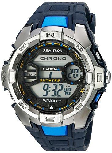 Armitron Sport Herren 40 8368nvy hellblau akzentuierten Digital Chronograph Marineblau Harz Gurt Uhr