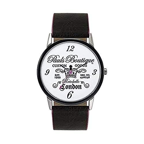 Pauls Boutique - Damen Quarz Uhr Schwarzes PU Armband weisses Ziffernblatt Analog Mit Hersteller Garantie
