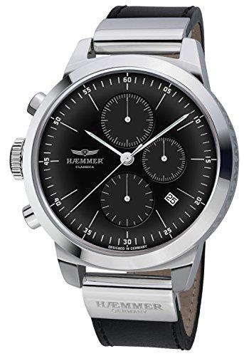 Haemmer Unisex Armbanduhr Classica - Chronograph, Leder, Schwarz/Silber