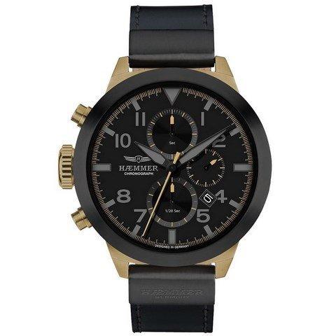 Haemmer Unisex Armbanduhr Independica - Chronograph, Leder, Schwarz/Gold