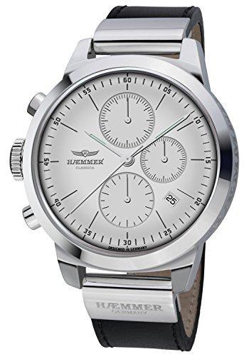 Haemmer Unisex Armbanduhr Classica Chronograph Leder Silber