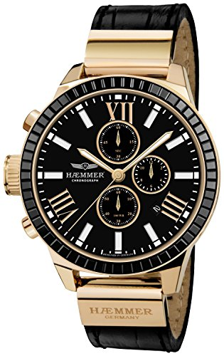 Haemmer Damenuhr Dark Secret - Chronograph, Leder, Schwarz/Gold