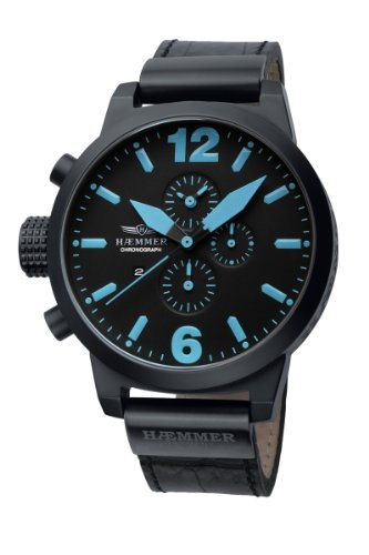 Haemmer Herrenuhr Neptun Chronograph, Leder, Schwarz/Blau