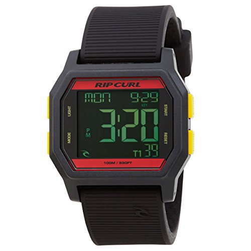Rip Curl Unisex Armbanduhr Atom Digital - Digital, Kunststoff, Farbe: Rasta