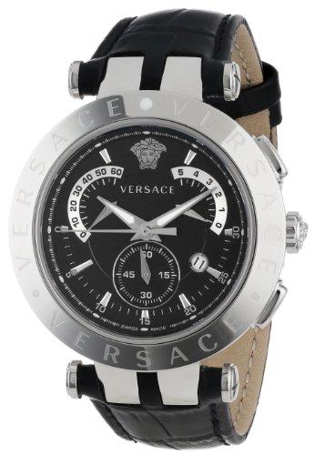 Versace VRace Chronograph Leder SchwarzSilber