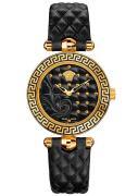 Versace Damenuhr Micro Vanitas Analog, Leder, Gold/Schwarz