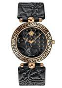 Versace Damenuhr Vanitas Analog, Leder, Gold/Schwarz