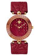 Versace Damenuhr Vanitas Analog, Leder, Gold/Rot