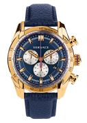 Versace Herrenuhr VRay Chronograph, Leder, Gold/Blau
