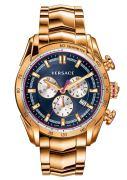 Versace Herrenuhr VRay Chronograph, Edelstahl, Gold/Blau